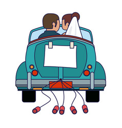 Wedding couple in vintage car with cans backward vector