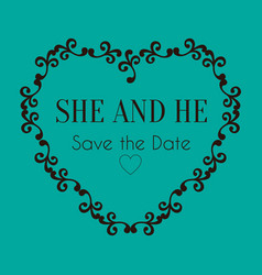Wedding heat save the date image vector