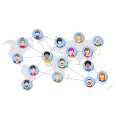world people network diagram vector image
