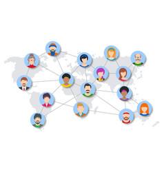 world people network diagram vector image