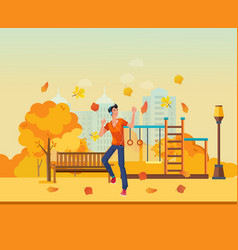Young man listens to music dancing autumn park vector