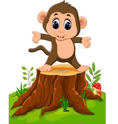 cartoon happy monkey dancing on tree stump vector image