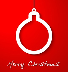 Christmas white ball applique on red background vector image vector image