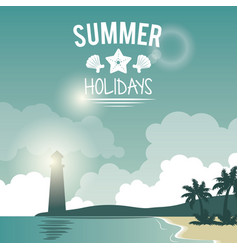 poster seaside with lighthouse and logo summer vector image