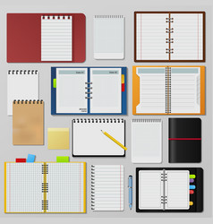set of open realistic notebooks clean pages diary vector image