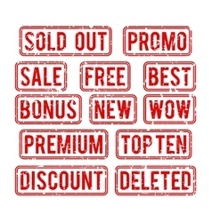 Sold out and promo bonus sale stamps vector image vector image