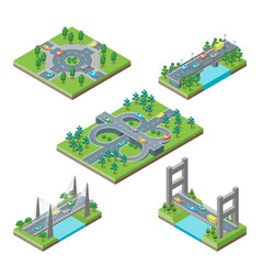 bridges and roads icons set isometric view vector image vector image