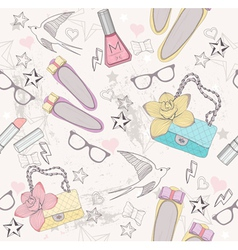 Cute fashion seamless pattern for girls vector image