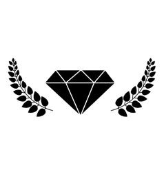 diamond with leaves frame vector image