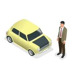 Isometric Classic mini model car and man vector image vector image