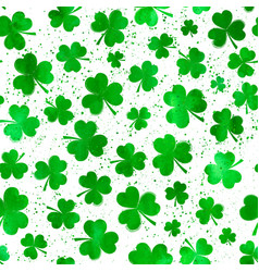 seamless pattern with green watercolor clover vector image