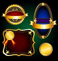 Set of golden vintage labels vector image