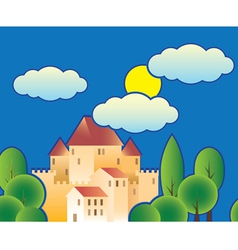 stylized fairy tale castle vector image