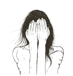 Woman crying sad vector