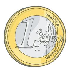 1euro coin sketch vector image