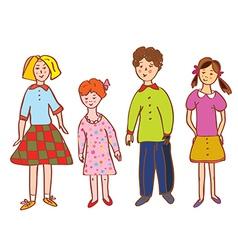 Funny children group cartoon vector image