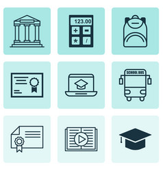 set of 9 education icons includes diploma taped vector image vector image