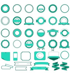 Set of sale badges labels and stickers in cyan vector image vector image