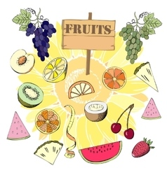 Background with fruit1-02 vector image vector image