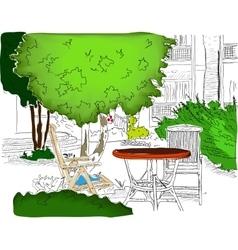 Cafe in the Garden Partially colored version2 vector image