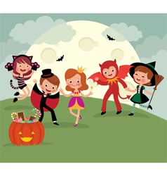 Children on Halloween night party vector image vector image