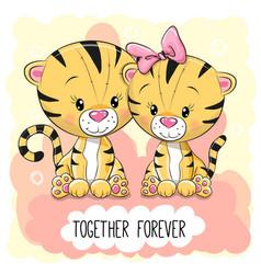 cute cartoon tigers boy and girl vector image vector image