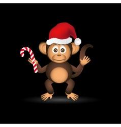 cute chimpanzee little monkey with santa hat eps10 vector image vector image