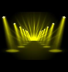 glowing golden spotlights vector image vector image