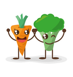 kawaii carrot and broccoli fun food vector image
