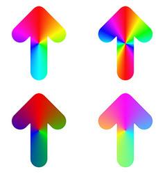 Rounded gradient rainbow arrow icon design set vector