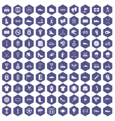 100 sneakers icons hexagon purple vector image