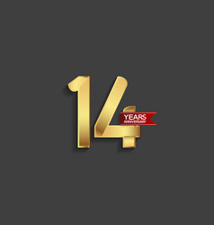 14 years anniversary simple design with golden vector