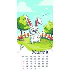 2021 calendar march funny cartoon rabbit vector