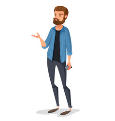 A young male hipster in kazhual clothes talks vector