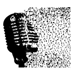 Abstract mic breaking up into musical notes vector