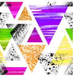 Abstract watercolor triangle seamless pattern vector
