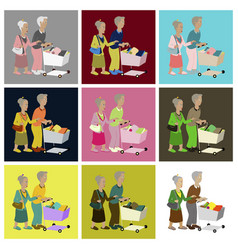 Assembly flat icons pensioners with a trolley vector