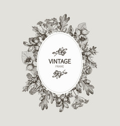 beautiful card with a round wreath different vector image