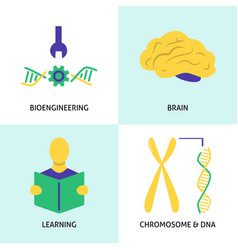 biohacking concept icons set in flat style vector image