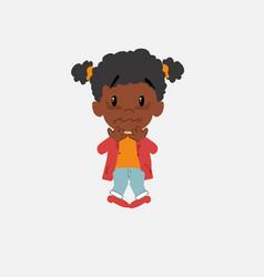 Black girl shrugged in fear vector