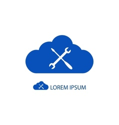 Blue cloud with settings sign vector image