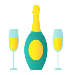 Bottle of champagne and two glasses merry vector