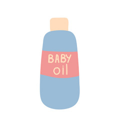 Bottle with baby oil baby cosmetics items vector