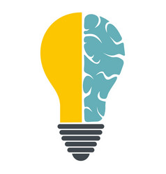 Brain lamp icon isolated vector