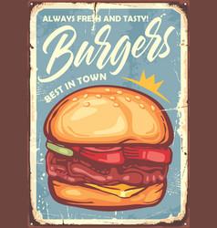 burger sign design in retro style vector image