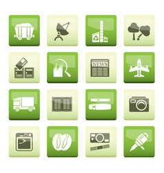 business and industry icons over green background vector image