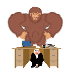 Businessman scared under table of bigfoot to hide vector