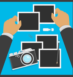camera and photos in flat style vector image