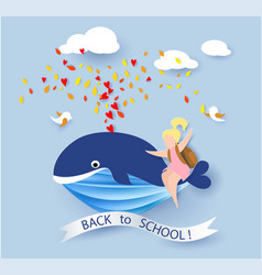 card with kids sitting on whale flying on blue sky vector image