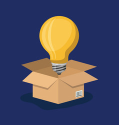 Cardboard box opened with big light bulb in dark vector